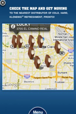 Displaying on the map options for finding a Klondike Ice Cream sandwich
