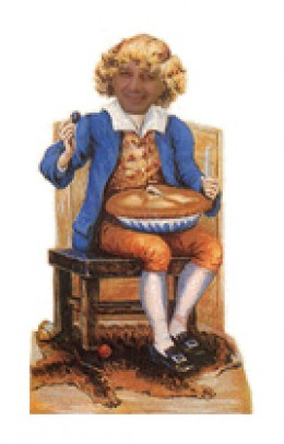 Little de Greek Horner enjoying Plum Crumble - Image by RedElf, photo from smart-central.com