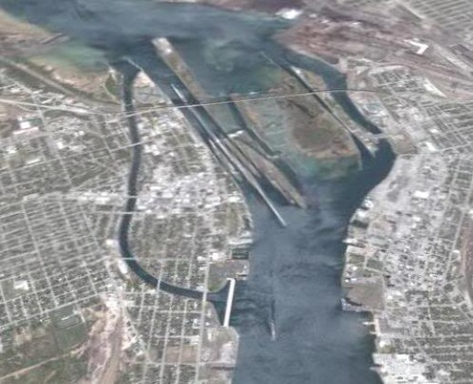 Aerial photo of the Soo Locks