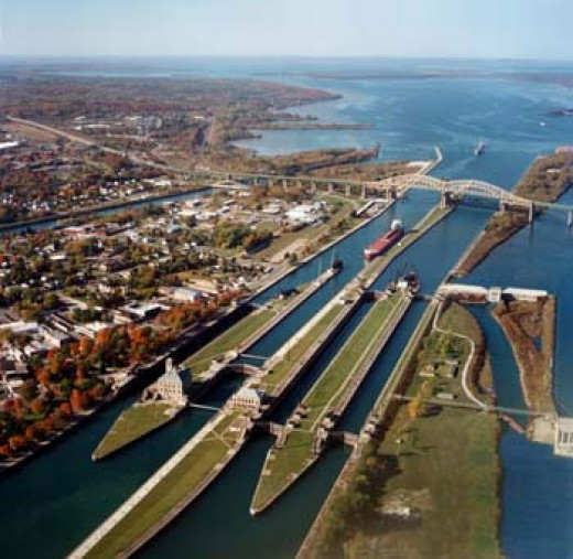 The Soo Locks ~ Michigan is to the left of the picture and Canada is to the right.  You can also see the International Bridge.