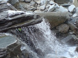 Water falling from the hill ranges near Mcleodganj
