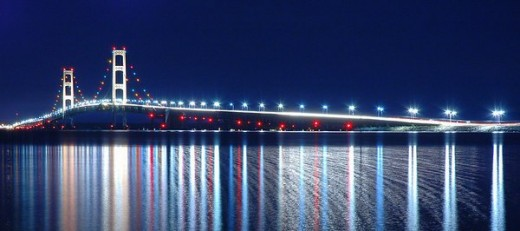 The Mackinac Bridge at night.