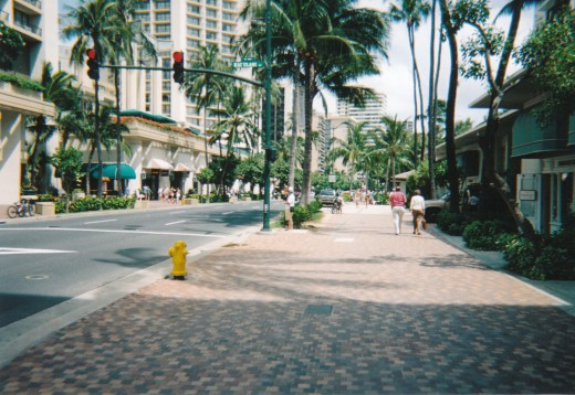Walking down Waikiki's shopping area