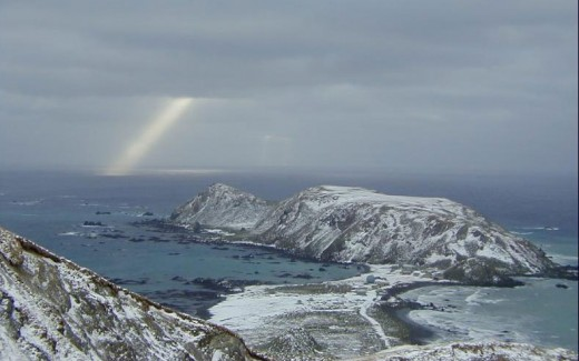 A ray from heaven?   No, just a rare ray of sunshine over a MacQuarie Island winter sky.