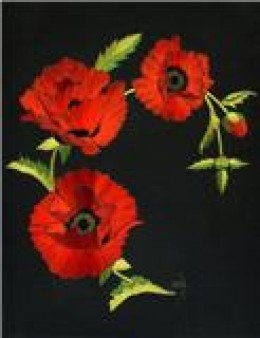 Embroidery of Poppies.  Photograph is courtesy of Helen M. Stevens.