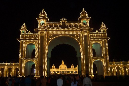 Mysore Palace seen from the Palace Gateway,all lit up during Dasara festival