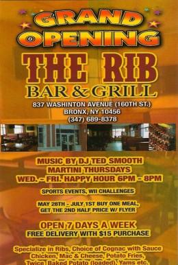 The Rib Bar Flyer.