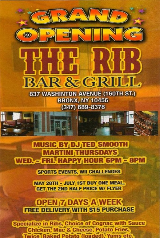 The Rib Bar Flyer.