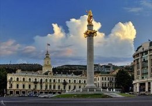 Monument of St. George, Freedom Square, Tbilisi, Georgia.