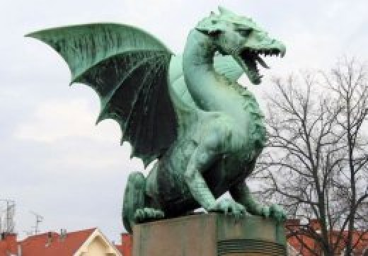Statue of Ljubljana, Dragon of Slovenia. Though not a Georgian dragon, one can imagine this in the local myth.