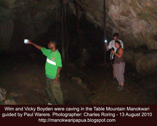Caving in the tropical rainforest of Table Mountain Manokwari of West Papua - Republic of Indonesia