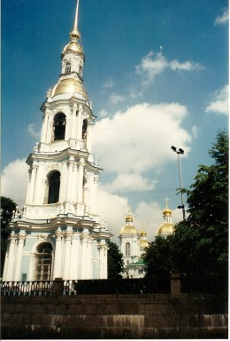 Belfry of St. Nicholas Cathedral in St. Petersburg (-), Russia