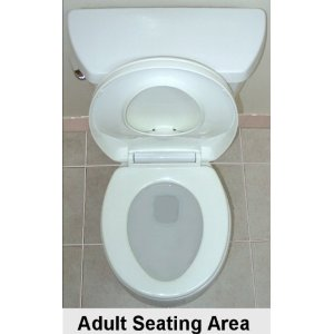Xpress Trainer Pro Family Toilet Seat - Lid and Potty Seat UP, Revealing The Adult Seat