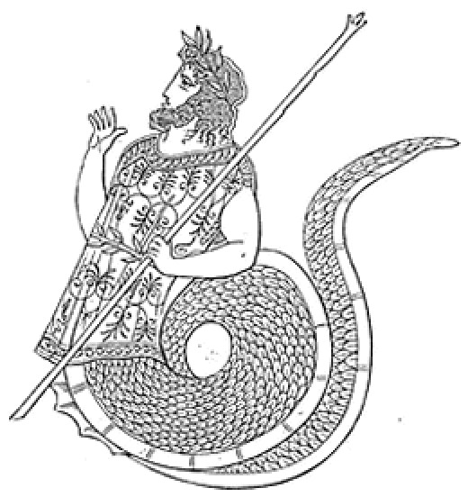 Cecrops I, founder of Athens and its first king, said to have been half man, half snake.