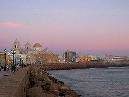 Picturesque Cadiz at sunset looking over the Atlantic and the resting place of Atlantis.