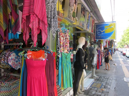 Dresses, shirts, souveniers selling in many shops along Legian and Kuta