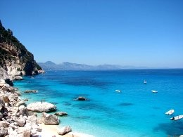The beautiful azure sea at Cala Goloritze, Sardinia.