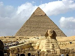 The Sphinx and the pyramids of Giza, Egypt.