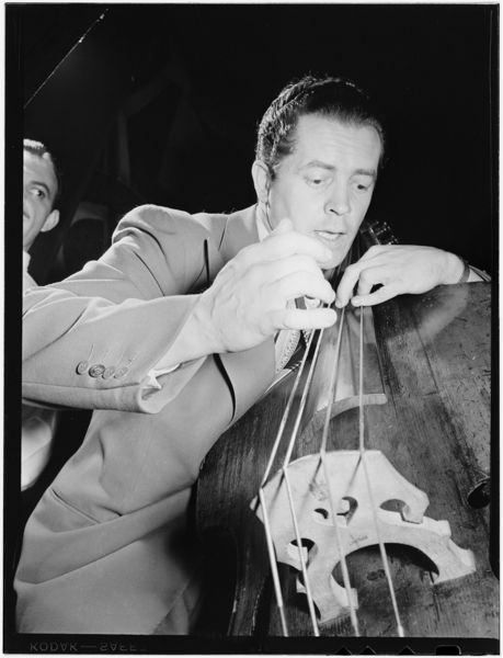 Bassist Eddie Safransky, photographed by William P. Gottlieb, New York, late 40s.
