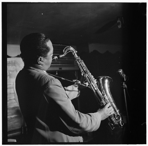 Lester Young at work, photographed by William P. Gottlieb, 1944.