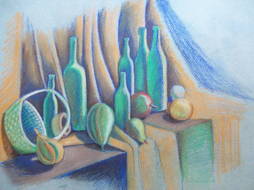 Still Life with Green Bottles -- pastel
