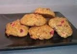 Varied dried fruits and nuts make a nice combination for this small cookie.