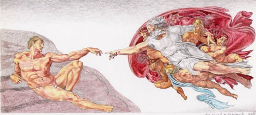 My attempt at a color copy of the Sistine Chapel ceiling panel.