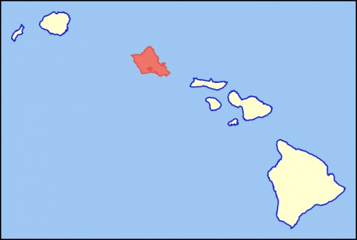 Oahu is the colored island in that grouping of Hawaiian Islands.