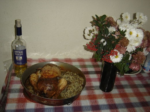 Roast chicken as the centerpiece of a Christmas meal in Greece.