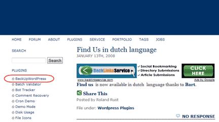 Diagram 1.  The WordPress Backup Plugin Link