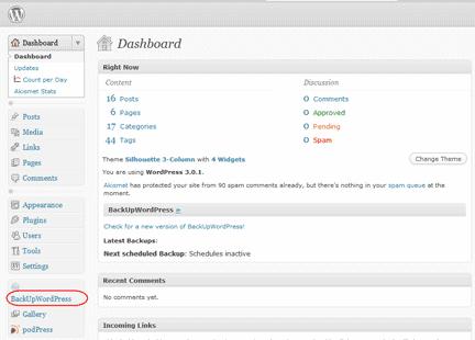 Diagram 1.  BackUpWordPress link in the Admin Dashboard