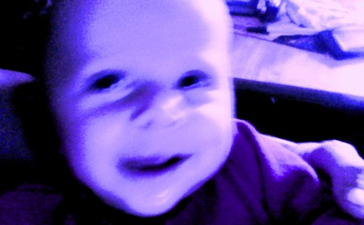 Here is Klaus after we ate too many blueberries. Sometimes Daddy's do the strangest things.