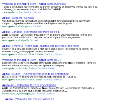"These are Google's search results when you search for ""apple"""
