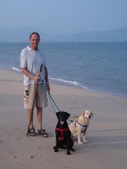 With our 2 Labradors, Tessa and Pip on Bang Sare beach.