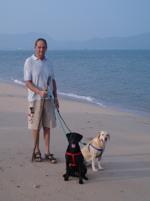 With our 2 Labradors, Tessa and Pip on Bang Sare beach.