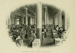 In this photograph from the early 1900s, women are wrapping boxes of chocolate in the Walker Chocolate Factory