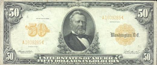 $50 U.S. gold certificate
