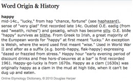 Happy | Origin of the word