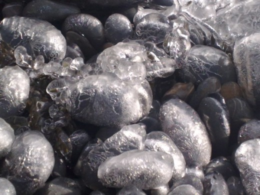 More pebbles with shells of ice in February 2010