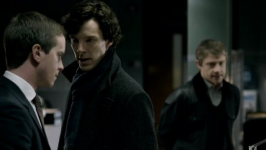 Sherlock and John with Detective Inspector Dimmock (Paul Chequer).