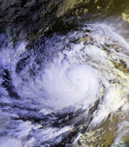 Typhoon Mike / Ruping at its peak approaching the Philippines.  It occurred Nov. 10 to 14, 1990 as the 4th costliest typhoon, damaging 10.8 billion pesos or us $241oin crops, animals and properties.