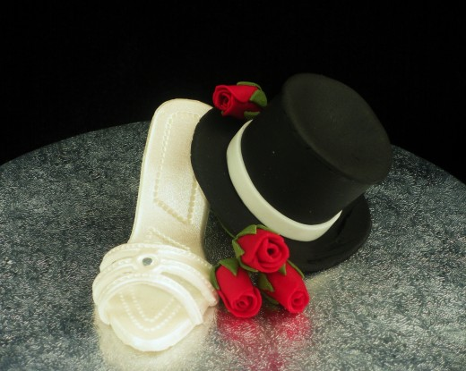 Gum Paste Shoe, Top Hat and Roses Wedding Cake Topper