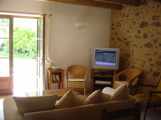 This is the living room. You can look out into the garden.