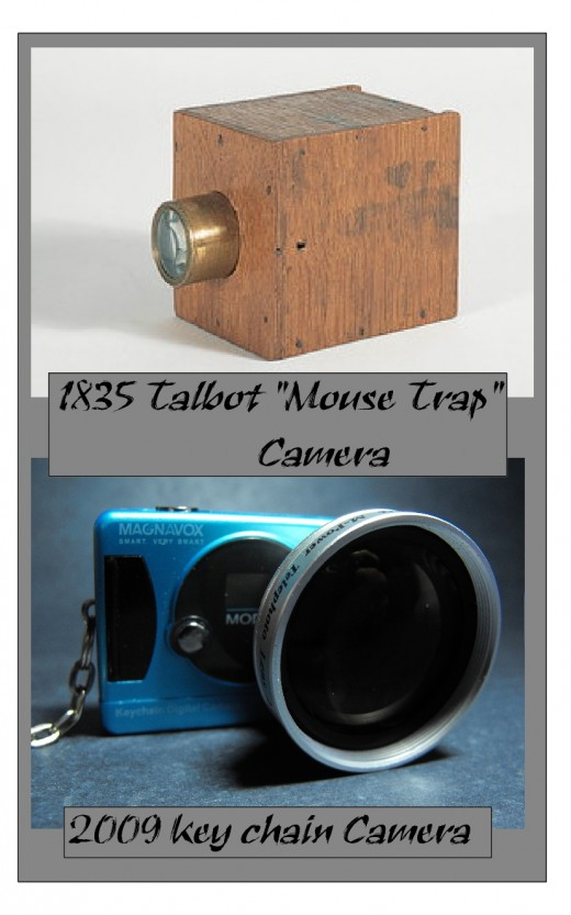 Old Talbot mouse trap camera and a new mni digital camera.