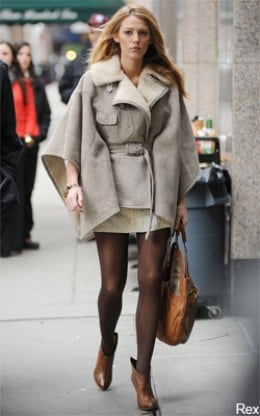Blake Lively, Gossip Girl in a Smart Cape by Ralph Lauren, Black Label 'Elodie' Shearling Poncho.