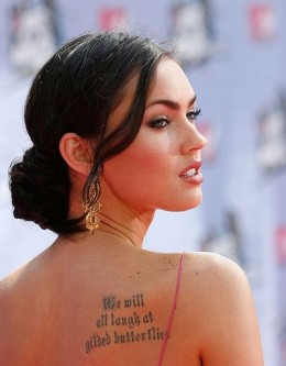 Megan Fox word tattoo