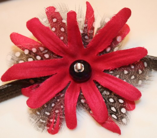 A birthday present--Hot pink flower petals with black and white polka-dotted feathers!!