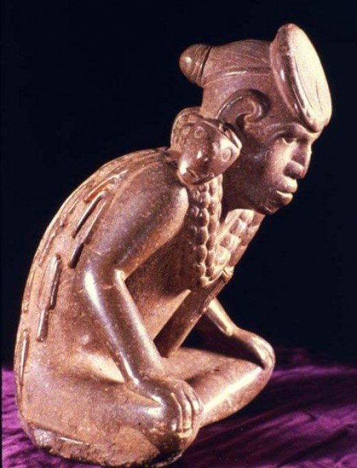 This sensitively done sculptured figurine shows the artistic skill of the Olmec in anatomy and in the expression of emotion and frozen action.