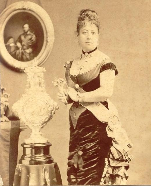 Picture of Queen Emma. Notice her Victorian dress. It demonstrates the British influences on the Hawaiian Monarchy