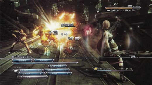 The battle sequences of FFXIII were modeled graphically off of the battles in the FFVII: Advent Children film.  This results in spectacular battles that are as fun to watch as fight throughout the game.